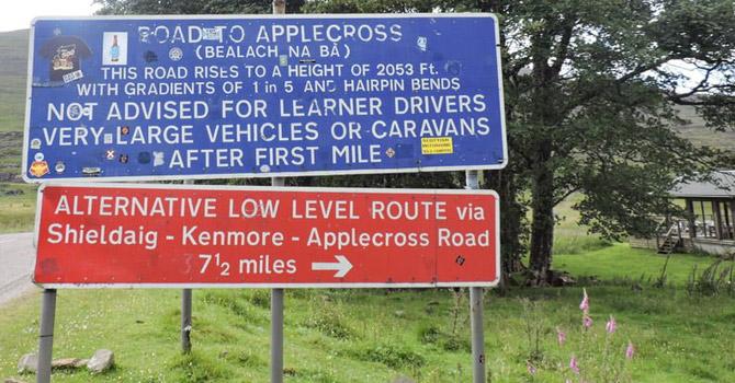Applecross road sign