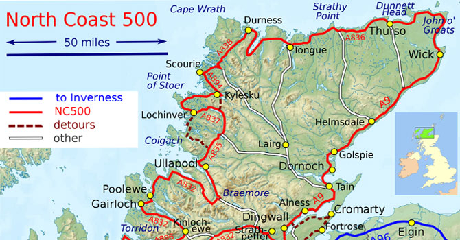 NC500 route map motorhomes